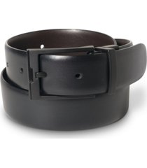 perry ellis portfolio men's big & tall matte black reversible buckle leather belt