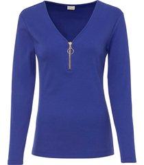 maglia a costine con cerniera (blu) - bodyflirt boutique
