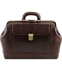 tuscany leather tl141299 leonardo - esclusiva borsa medico in pelle testa di moro