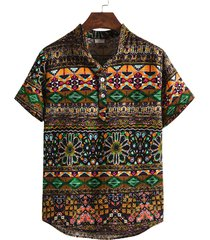 hombres verano tribal all over print stand collar suelto bohemio camisa