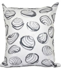 clams 16 inch gray decorative coastal throw pillow
