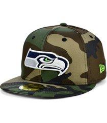 new era seattle seahawks woodland 59fifty cap