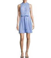 milly women's sleeveless pleated shirt dress - sky - size 14