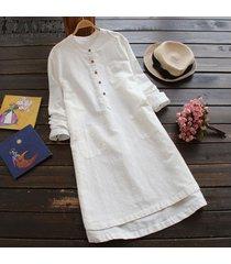 zanzea superior largo de la blusa sólido camisa de vestir de mujer de manga larga bolsillos botones vestido -blanco