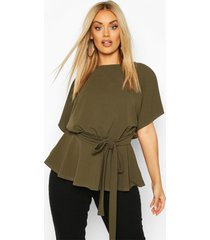 plus slash neck tie waist peplum hem top, khaki