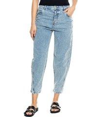 slouchy jeans botonadura interna desflecado en costados color blue