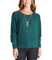 bcx juniors' rib-knit sweater with necklace