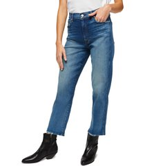 7 for all mankind high waist crop straight leg jeans, size 25 in blue at nordstrom