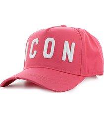 dsquared2 icon dark pink baseball cap