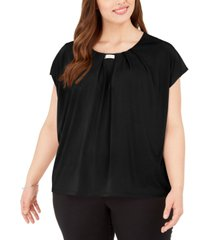 adrienne vittadini plus size knit crepe layering top