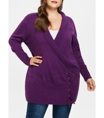 plus size ripped panel long sweater
