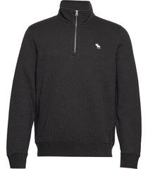 holiday core icon mock sweat-shirt trui zwart abercrombie & fitch
