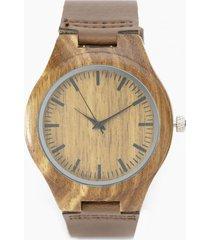 reloj madera cuero chocolate millam
