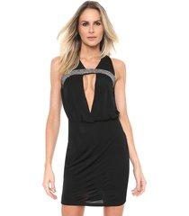 vestido lança perfume curto pedraria preto