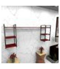 estante estilo industrial sala aço preto 180x30x68cm cxlxa mdf vermelho modelo ind28vrsl