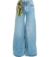 high-rise scarf wide leg jeans