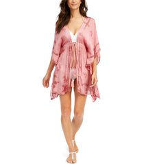 raviya crochet-trim tie-front kimono swim cover-up women's swimsuit