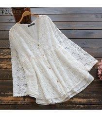 zanzea camisa de ganchillo de encaje de manga larga para mujer tops cuello en v blusa ahuecada tops tallas grandes -blanco