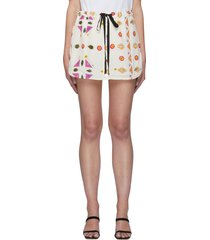 geometric botanical print drawstring waist button down mini skirt