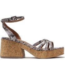 sandalia de cuero animal print felmini santina