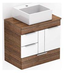 gabinete para banheiro em mdf com cuba quadrada basic 60x38cm wengué e branco