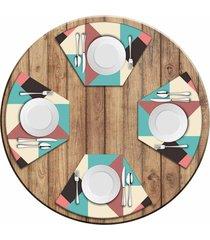 jogo americano   para mesa redonda wevans abstract colors kit com 4 pçs  love decor