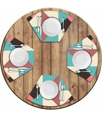 jogo americano   para mesa redonda wevans abstract colors kit com 4 pçs  love decor