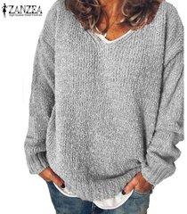 zanzea de mujer de manga larga sólido ocasional de los puentes suéteres de punto prendas de punto flojo de la blusa -gris