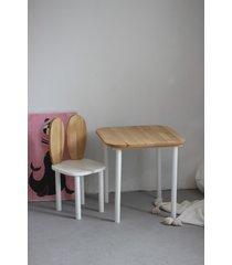 krzesełko królik + stolik drewniany