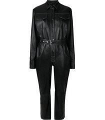manokhi leather utility jumpsuit - black