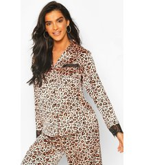 leopard satin & lace mix & match pj shirt, brown