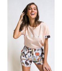 pijamas curtos acuo pijamas curtos bege - bege - feminino - dafiti