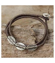 silver beaded wrap bracelet, 'chiang mai taupe' (thailand)