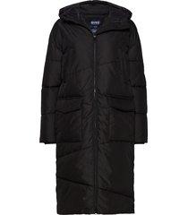 big front pocket long jacket gevoerde lange jas zwart svea