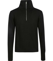 jil sander high-neck zip placket knit sweater