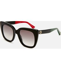 gucci women's cat frame logo sunglasses - black/grey