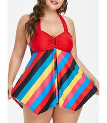 colorful striped plus size halter tankini