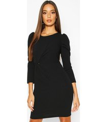 crew neck knot front puff sleeve shift dress, black