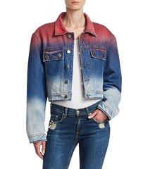 dip dyed cropped denim jacket