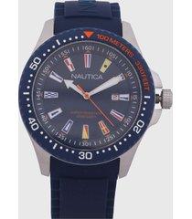 reloj azul navy- plateado-multicolor nautica