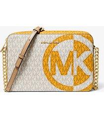 mk borsa a tracolla jet set grande bicolore con logo - sun multi - michael kors