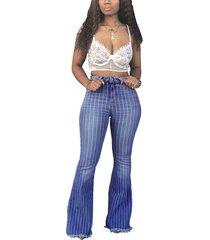 rayas azules de cintura alta jeans