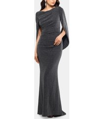 betsy & adam metallic-knit draped gown
