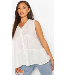 broiderie anglaise tiered woven top, white