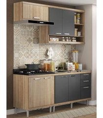 cozinha compacta completa multimã³veis com 4 peã§as sicãlia 5810 argila/grafite - bege/incolor - dafiti