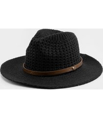 erika cable knit panama hat - black