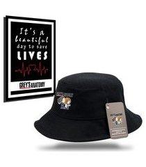 kit chapéu bucket unissex com quadro personalizados grey's anatomy - preto