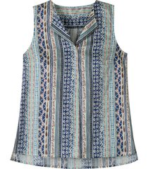 mouwloze blousetop met keramiek-print, blauw-bedrukt 44