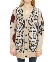 rd style women's printed v-neck cardigan - sand - size xs
