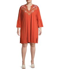 plus rianne embroidery bell-sleeve dress
